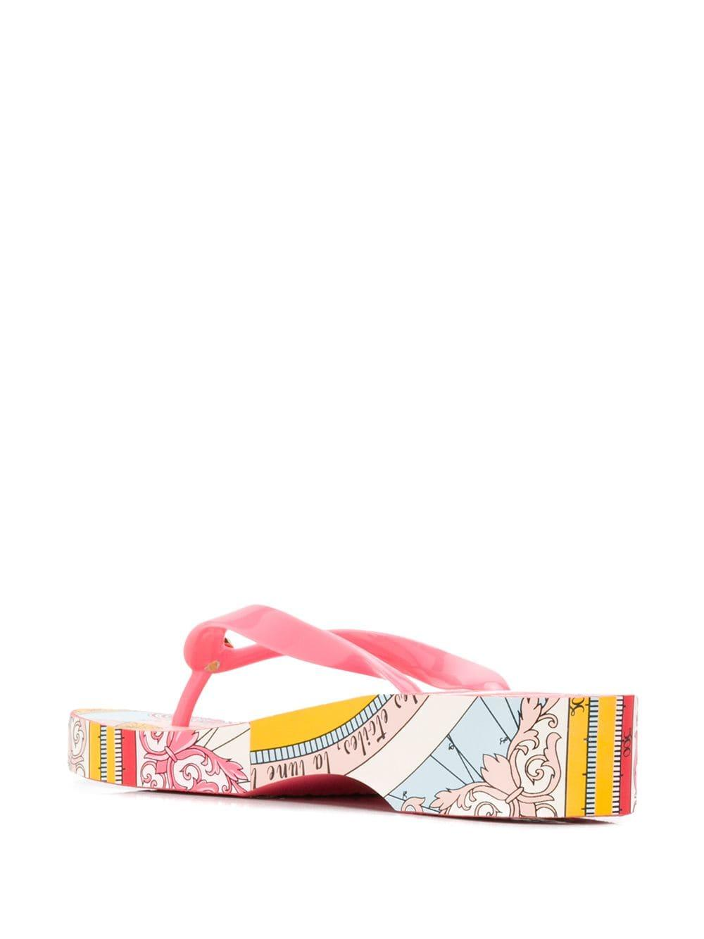 1a97e20b6 Tory Burch - Pink Printed Carved Wedge Flip-flops - Lyst. View fullscreen