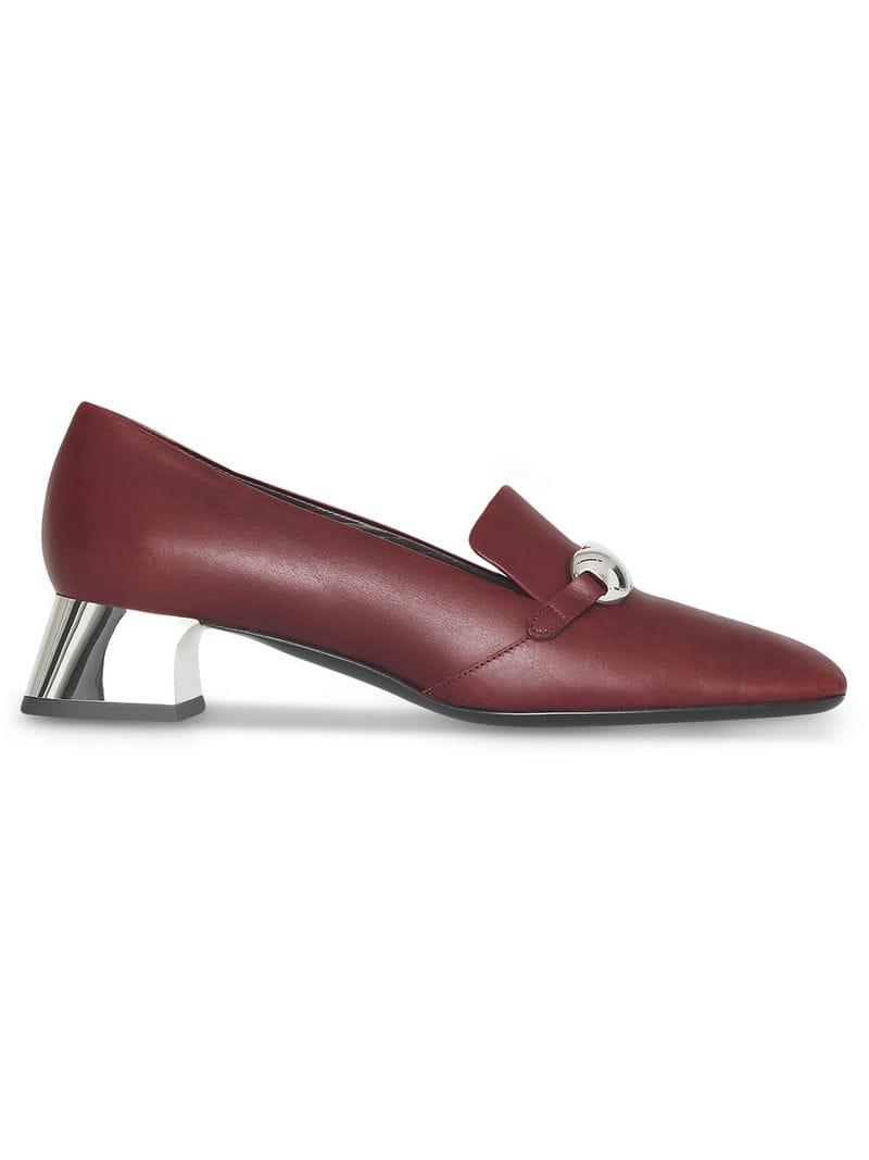 d6571d49539 Burberry. Women s Red Studded Bar Detail Leather Court Shoes