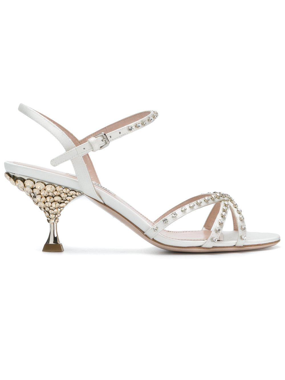 4f8a56c1517 Lyst - Miu Miu Crystal Embellished Sandals in White