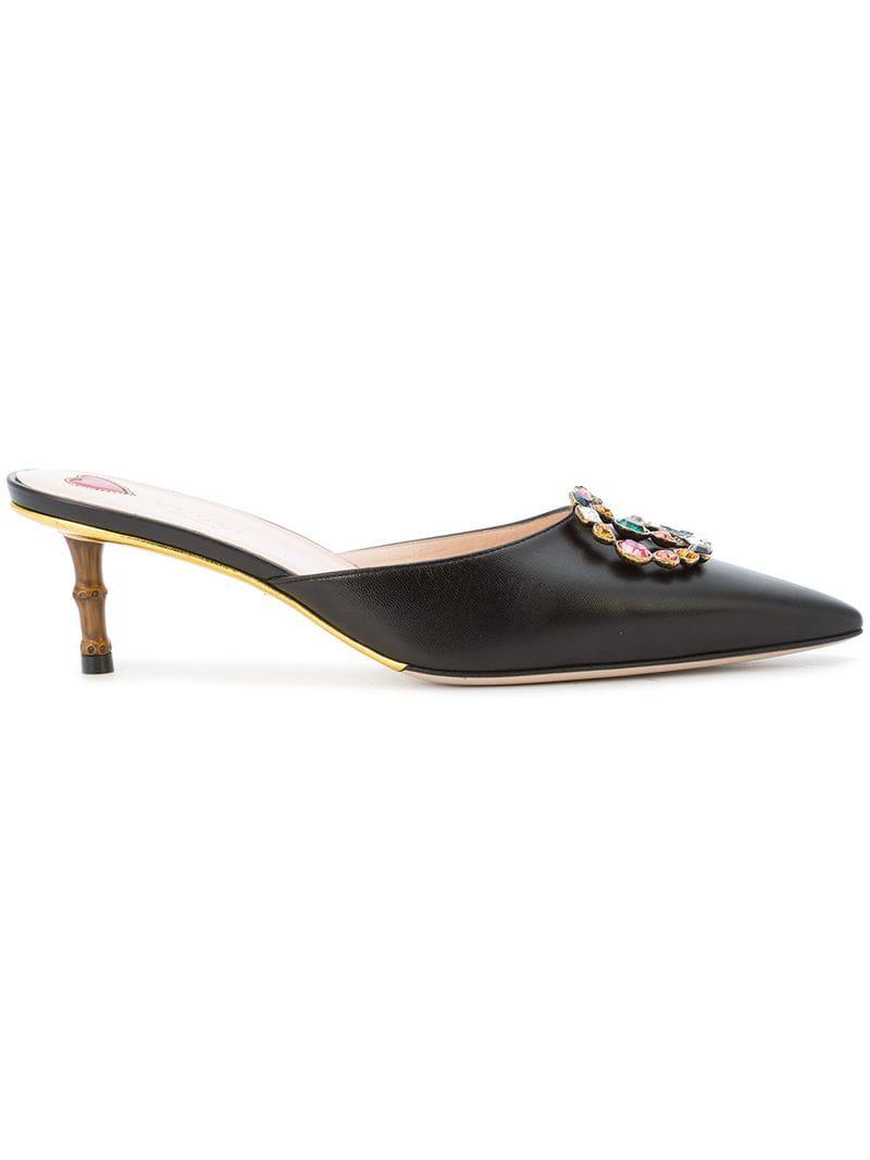 966c08e39 Gucci GG Crystal Embellished Mules in Black - Lyst