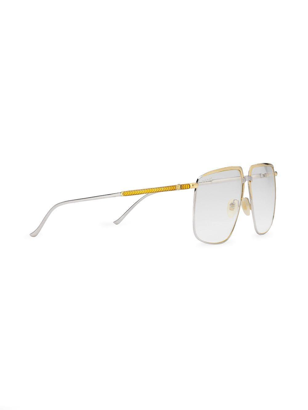 0b31a5dbc3e Lyst - Gucci Square-frame Glasses in Metallic