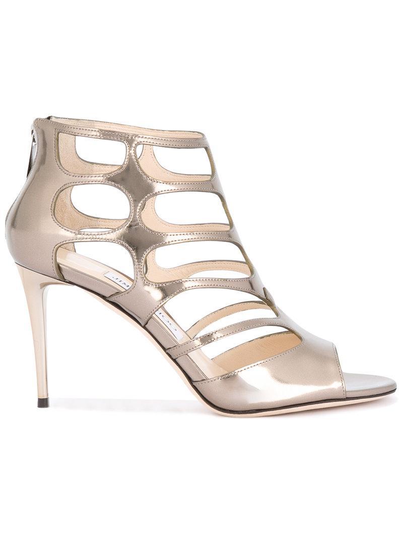 660e9f7696d Lyst - Jimmy Choo Ren 85 Sandals in Metallic