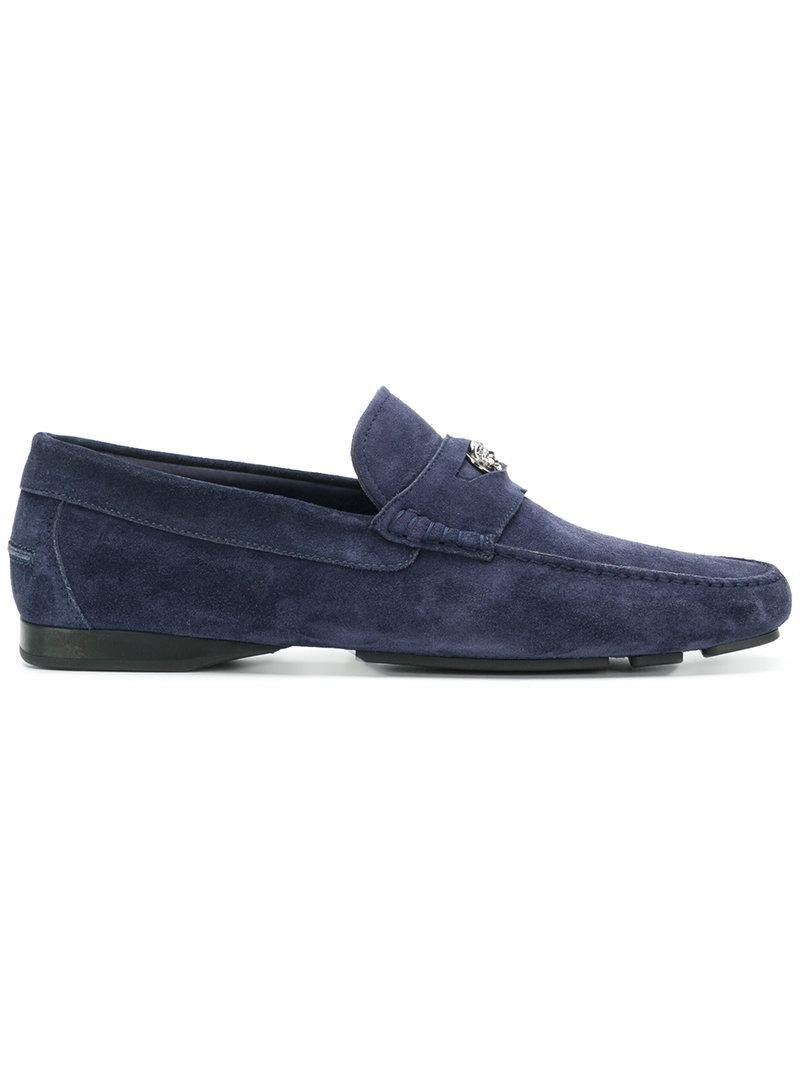 d2666f497f Versace Slip-on Medusa Loafers in Blue for Men - Lyst