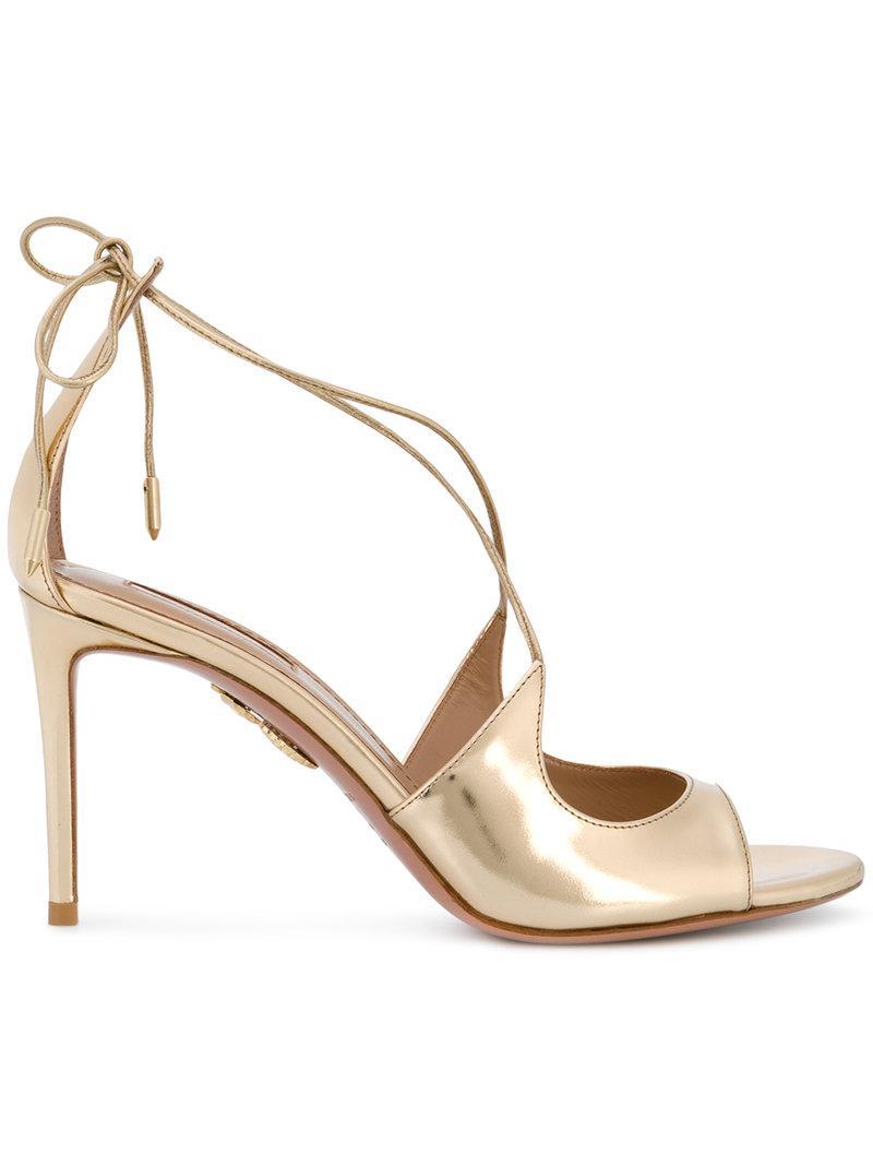 93d126d87 Lyst - Aquazzura Sofia Sandals in Metallic