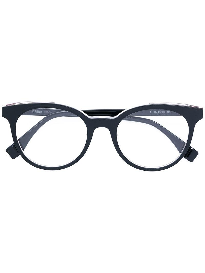 77c31a1460e2 Lyst - Fendi Round-frame Glasses in Black