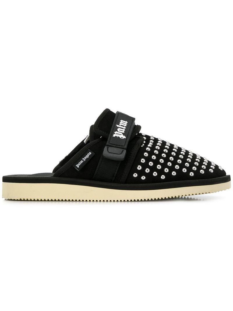 26614ad4730a Palm Angels - Black Studded Logo Slippers for Men - Lyst. View fullscreen