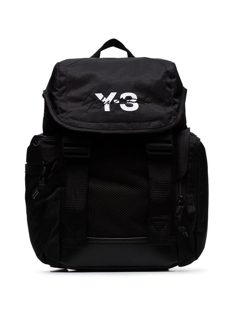 Y-3 Black Mobility Logo Print Backpack in Black for Men - Lyst 9e6b8fb439feb