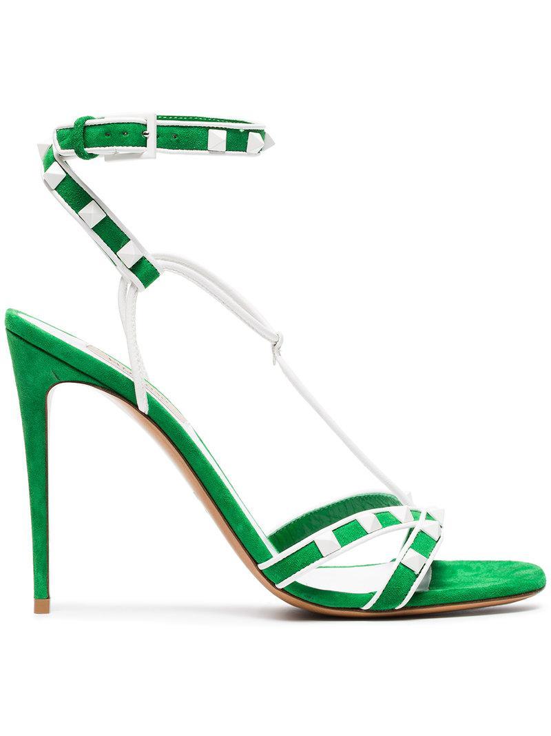 Valentino Green Free Rockstud 105 Suede Sandals farfetch bianco Finishline Venta Barata qoRZwJxYK