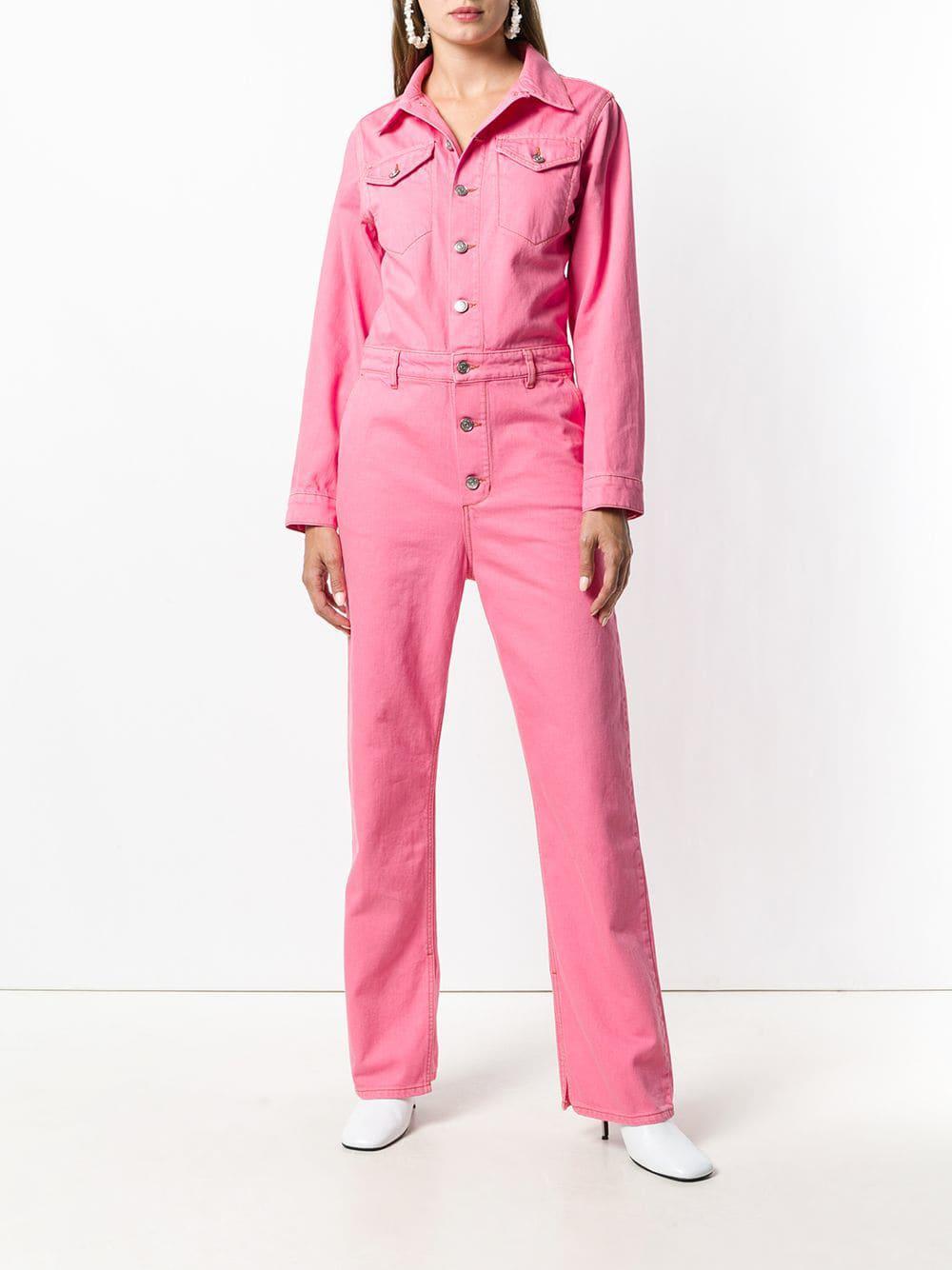 a985c3fe Ganni Denim Boiler Suit in Pink - Lyst