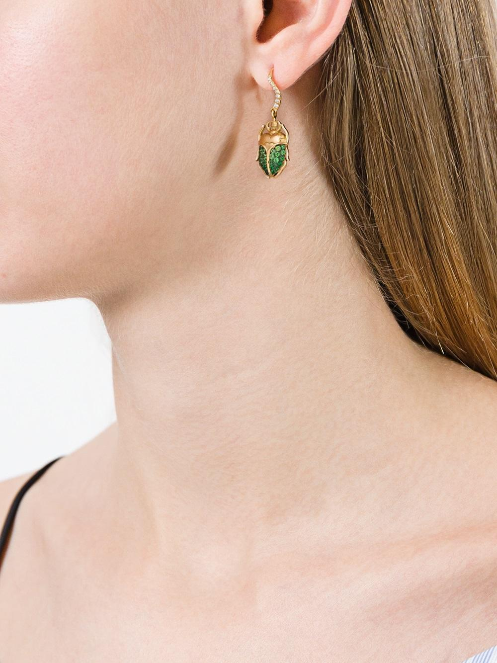 83c0a753a Aurelie Bidermann 'scarab' Tsavorite And Diamond Earring in Metallic - Save  50% - Lyst