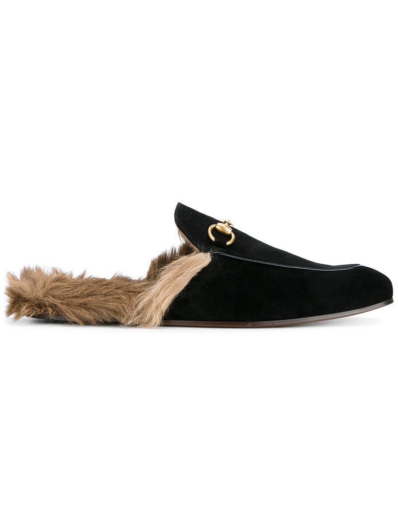 da0db8de3ed Lyst - Gucci Fox Fur Lining Slippers in Black for Men