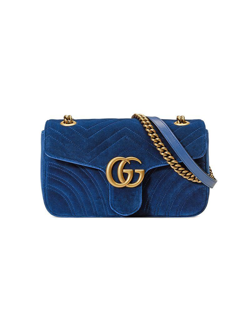 eed0fb6d81b Lyst - Gucci Women s GG Marmont Velvet Shoulder Bag - Hibiscus Red ...