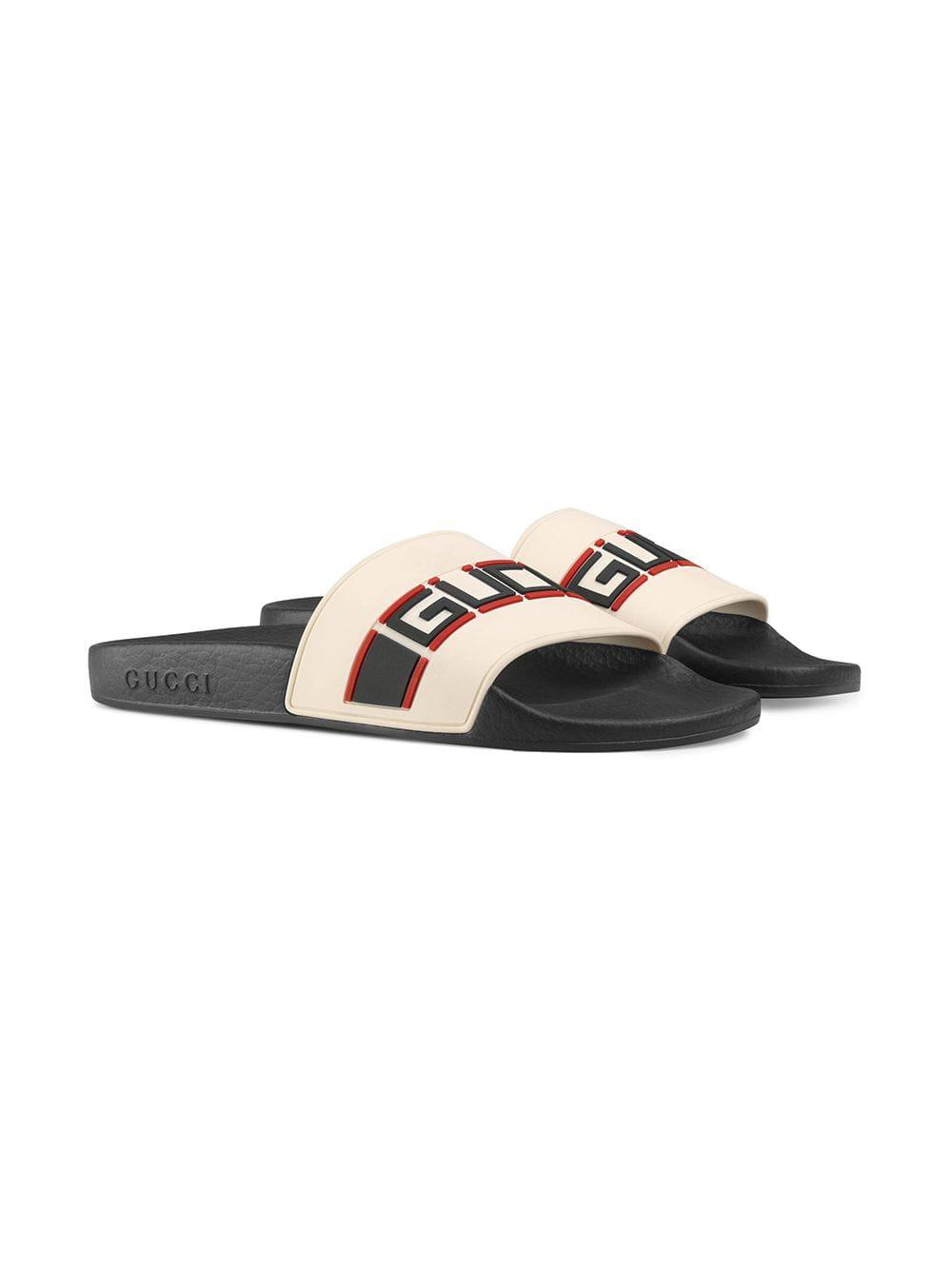 abd0104b2 Gucci Stripe Rubber Slide Sandals in White - Save 3% - Lyst