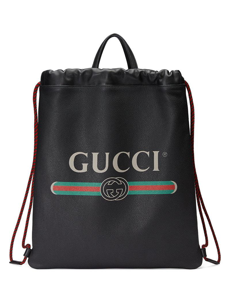 Gucci - Black Print Leather Drawstring Backpack for Men - Lyst. View  fullscreen 0e229218ec9c2