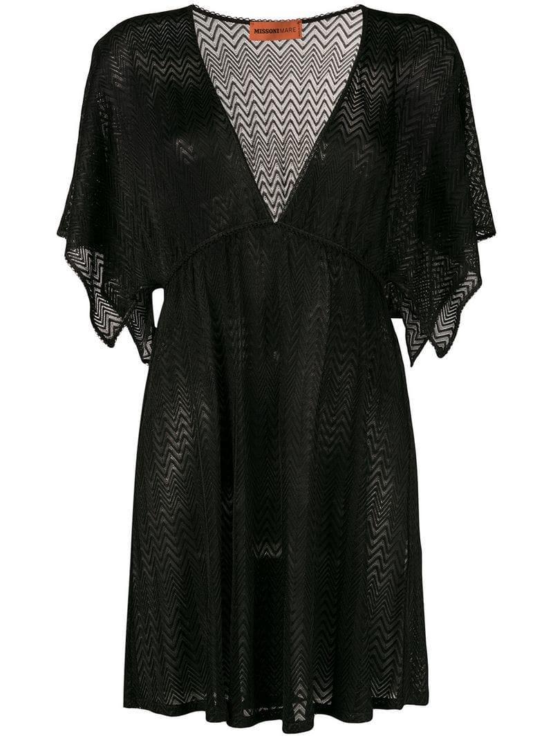 0add1d2836 Missoni Chevron Knit Beach Dress in Black - Lyst