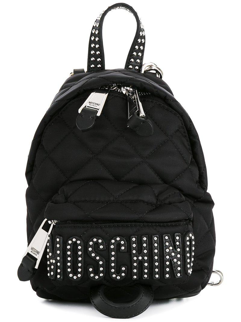 bff5a2a4fb0 Moschino Quilted Mini Backpack in Black - Lyst