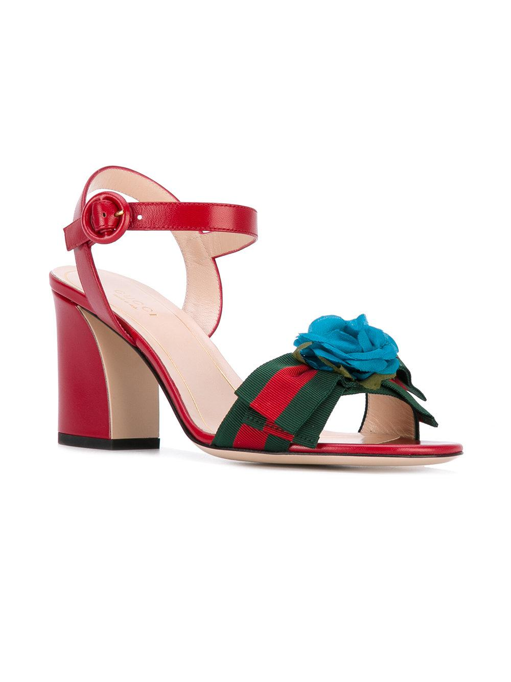 503a322de8fa Lyst - Gucci Floral-embellished Sandals in Red