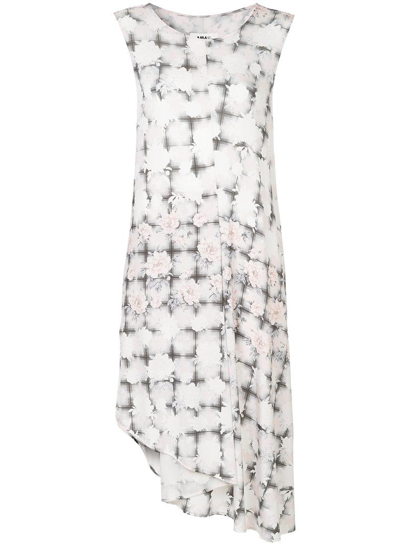 floral check asymmetric dress - Pink & Purple Maison Martin Margiela Clearance Collections hOBSkd2