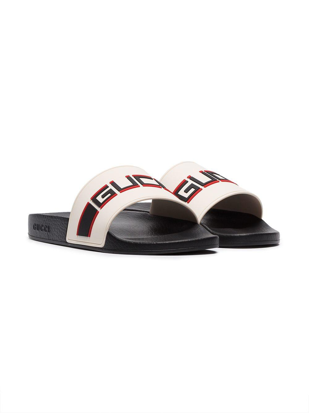 a90925d01 Gucci - White Cream, Black And Red Logo Stripe Rubber Slides for Men -  Lyst. View fullscreen