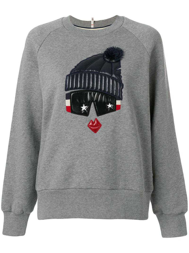 lyst moncler grenoble padded detail sweatshirt in gray. Black Bedroom Furniture Sets. Home Design Ideas