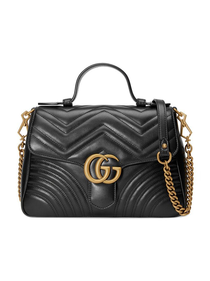 Gucci Gg Marmont Medium Top Handle Bag in Black - Save 13% - Lyst 246703d6048ff