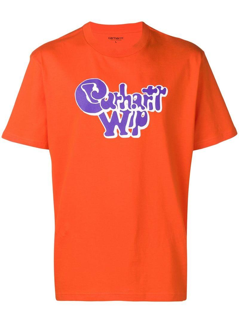 6500cfe0b Carhartt WIP Logo Print T-shirt in Orange for Men - Lyst