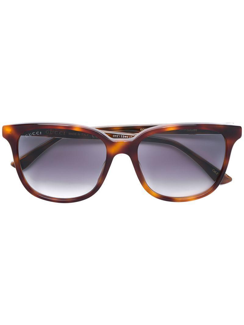 d1e4d139eab Gucci - Brown Square Frame Glasses - Lyst. View fullscreen