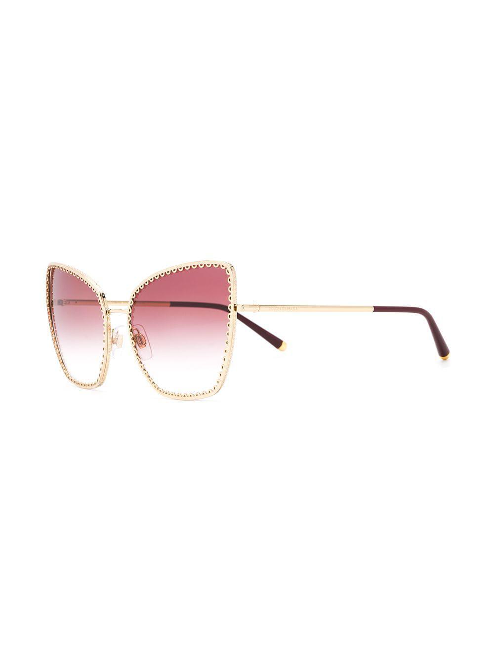 7906e5c22cb Lyst - Dolce   Gabbana Oversized Cat-eye Sunglasses in Metallic