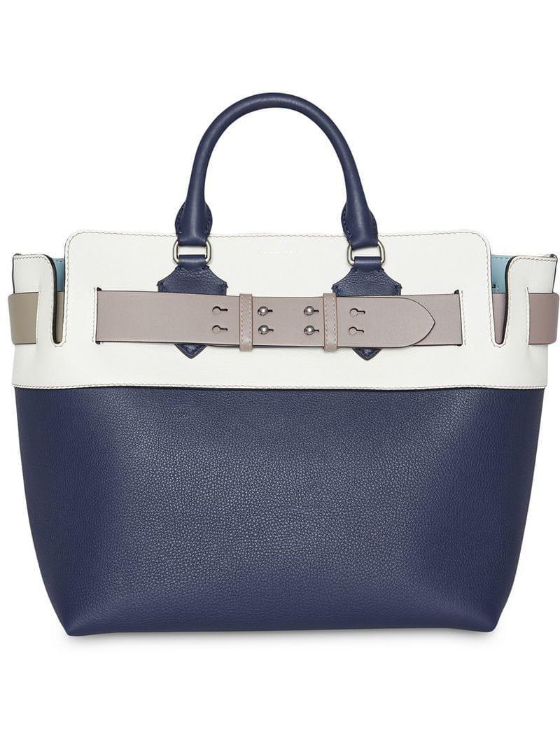 640e185d41 Lyst - Burberry The Medium Tri-tone Leather Belt Bag in Blue