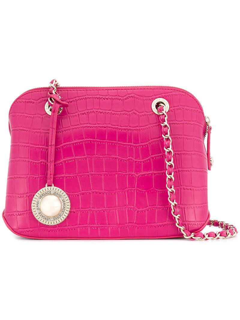 74483fd5e11b Lyst - Versace Jeans Croco Embossed Shoulder Bag in Pink