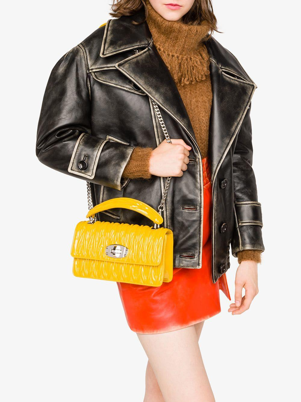 Miu Miu - Yellow Cleo Shoulder Bag - Lyst. View fullscreen 6979cdca4955e