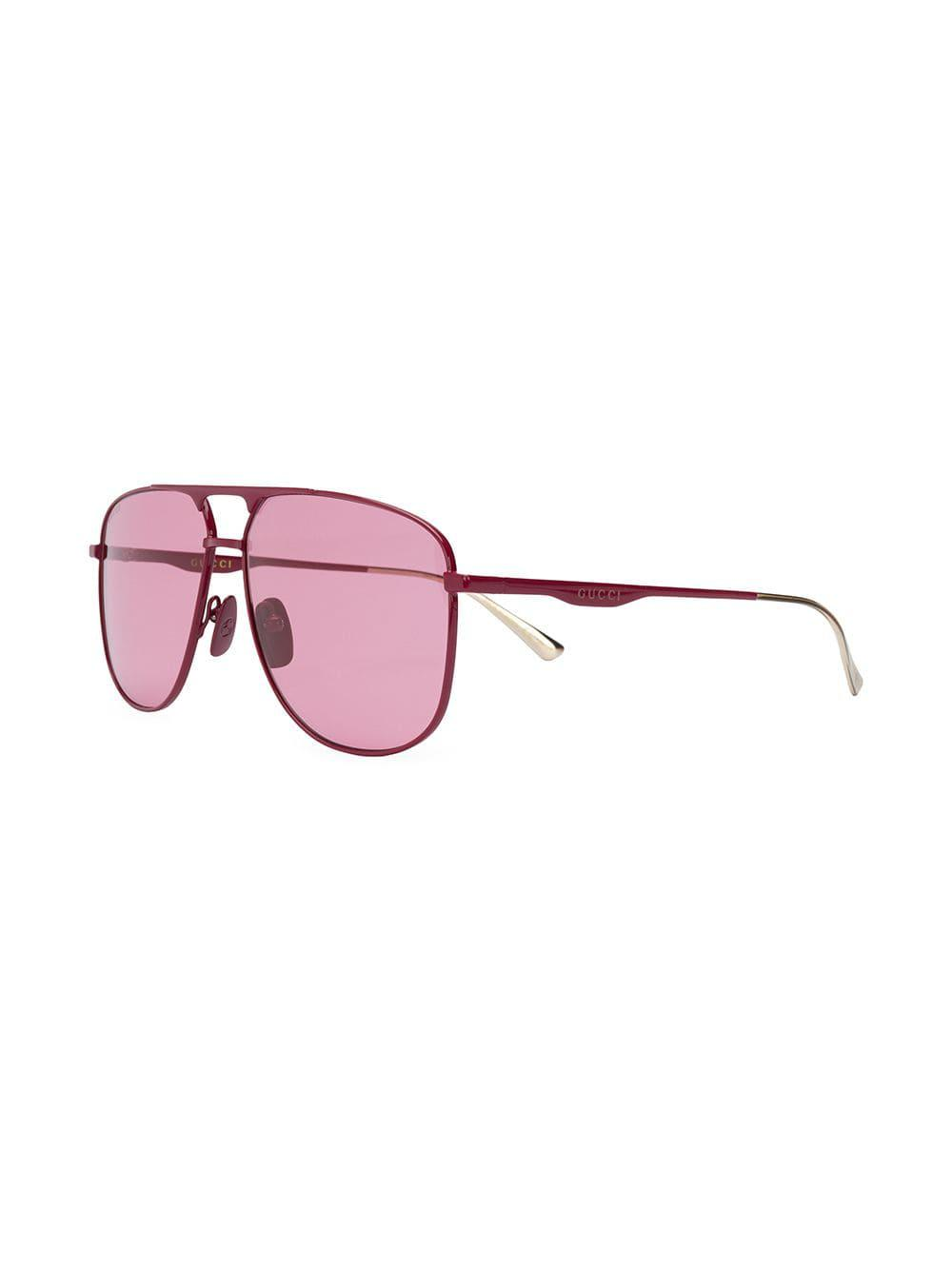 236fef2419c Lyst - Gucci Aviator Frame Sunglasses in Pink for Men