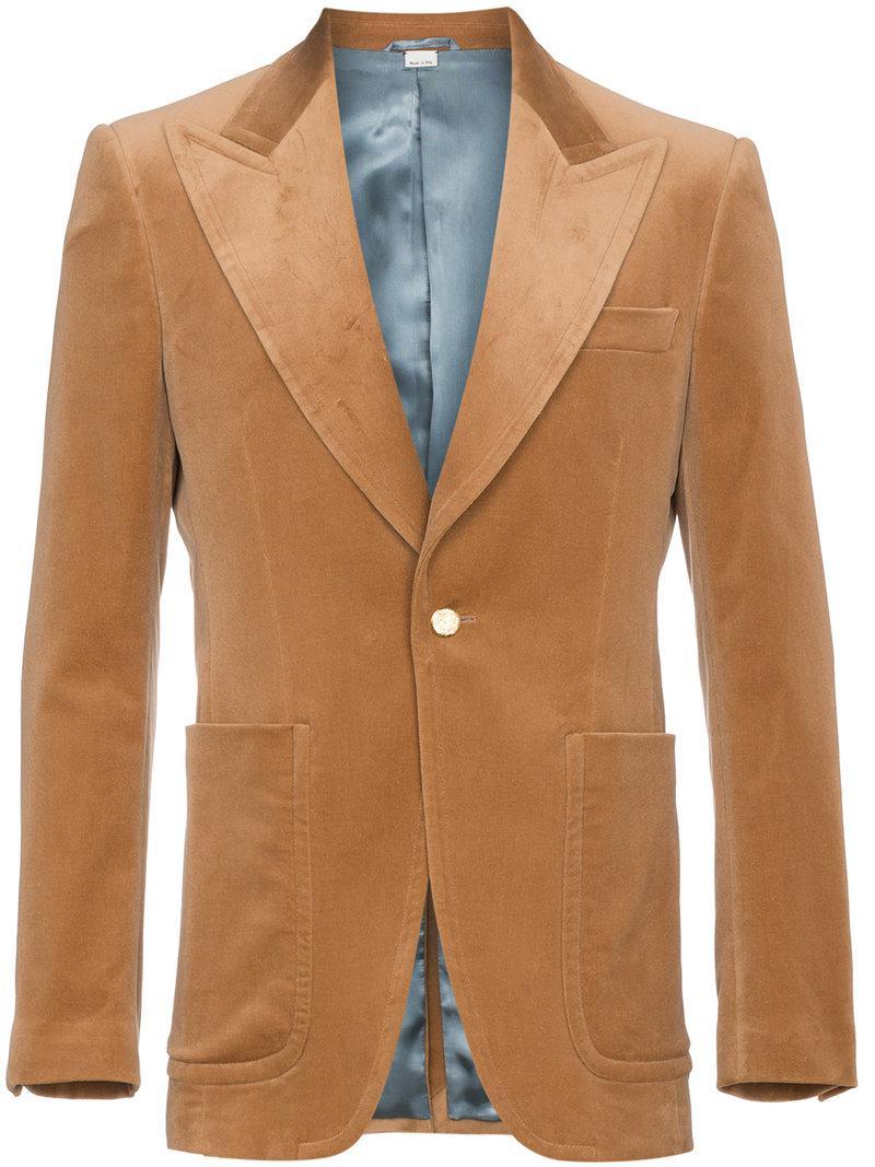 c66fb1555 Gucci Camel Velvet Blazer in Brown for Men - Lyst