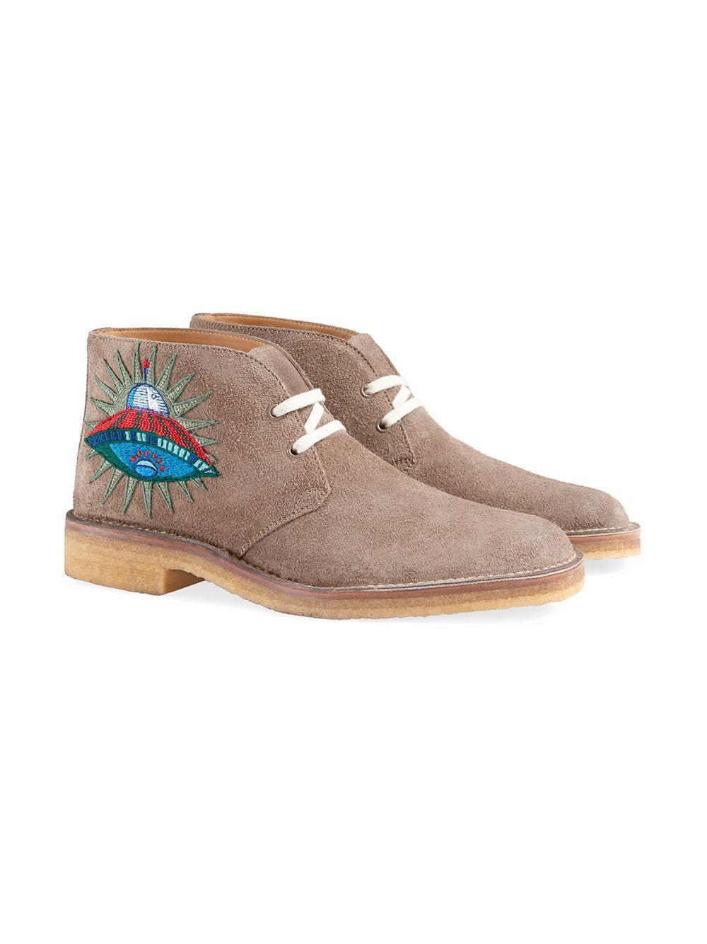 77c12598a8ca7 Lyst - Gucci Suede Boots With Appliqués for Men