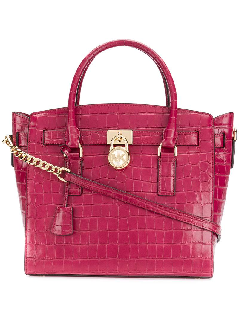 74fe550fab0622 Lyst - MICHAEL Michael Kors Crocodile Embossed Tote Bag in Pink