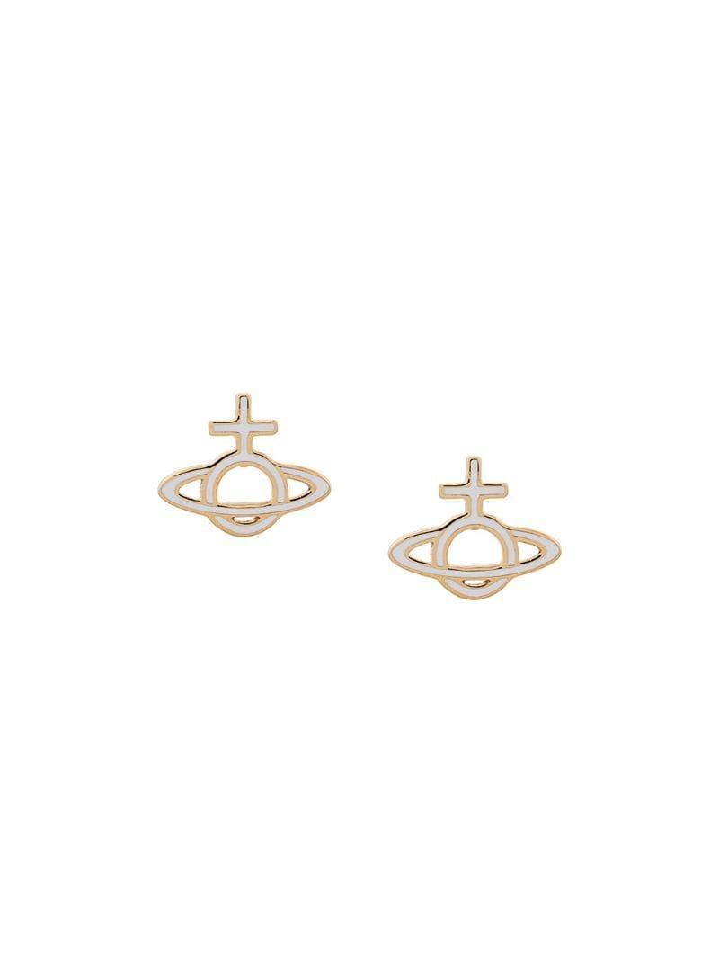 4554aa516 Vivienne Westwood Logo Stud Earrings in White - Lyst