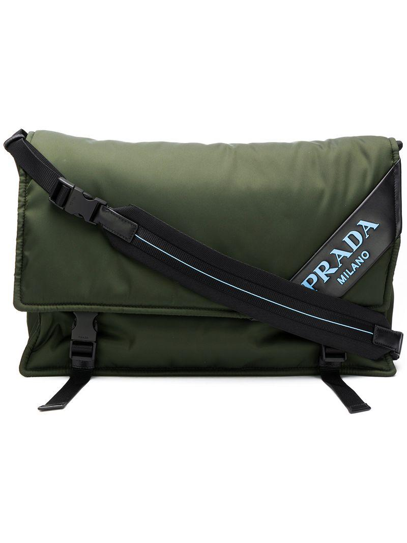 d14b77011e36 Prada Logo Messenger Bag in Green - Lyst