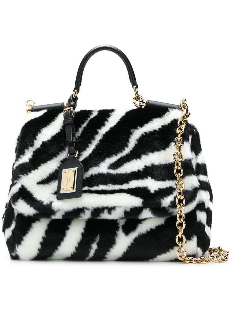 f4e4f3e35719 Lyst - Dolce   Gabbana Zebra Print Sicily Bag in Black