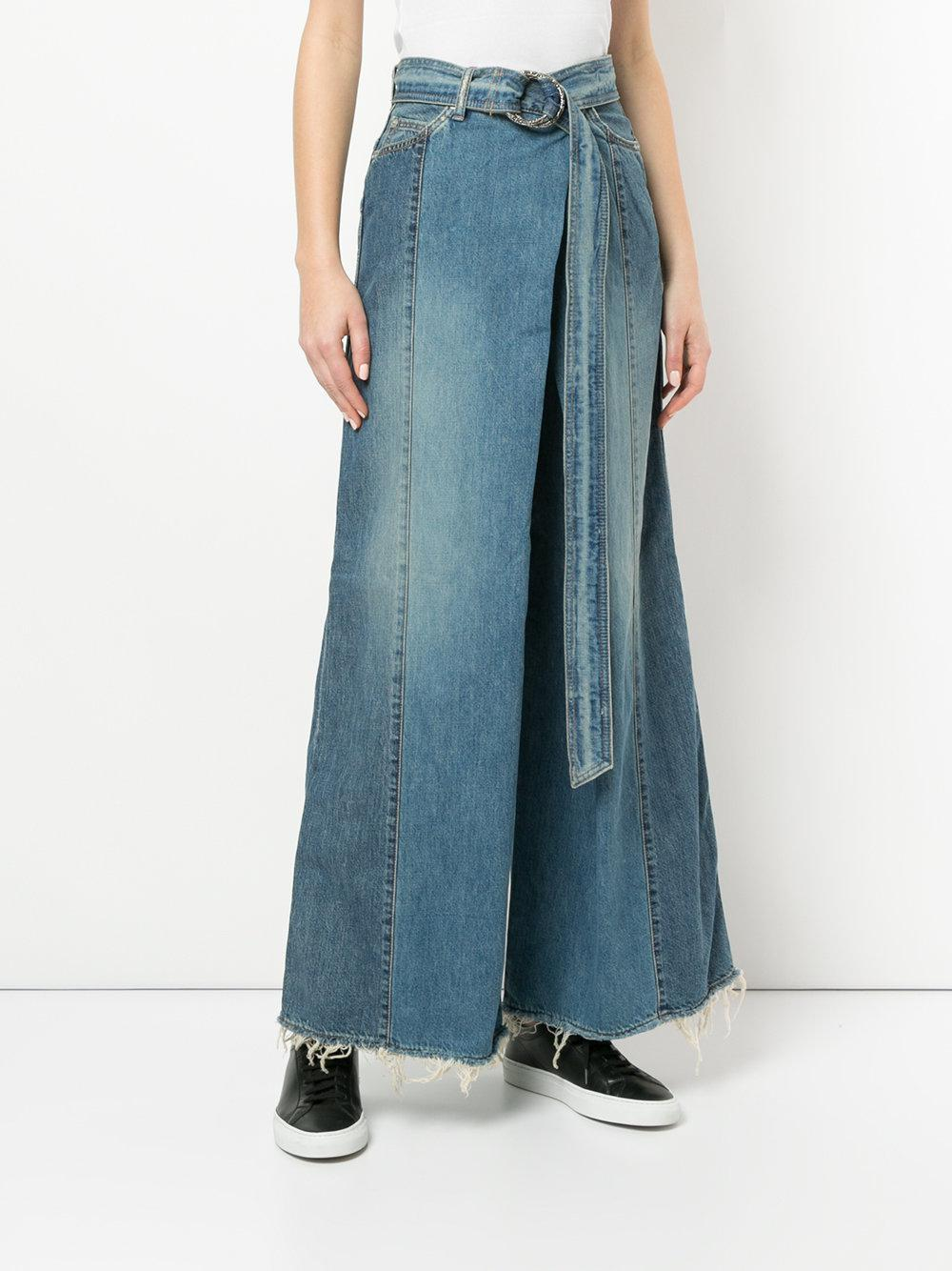 Christian Dada | Blue Belted Super Wide Jeans | Lyst. View Fullscreen