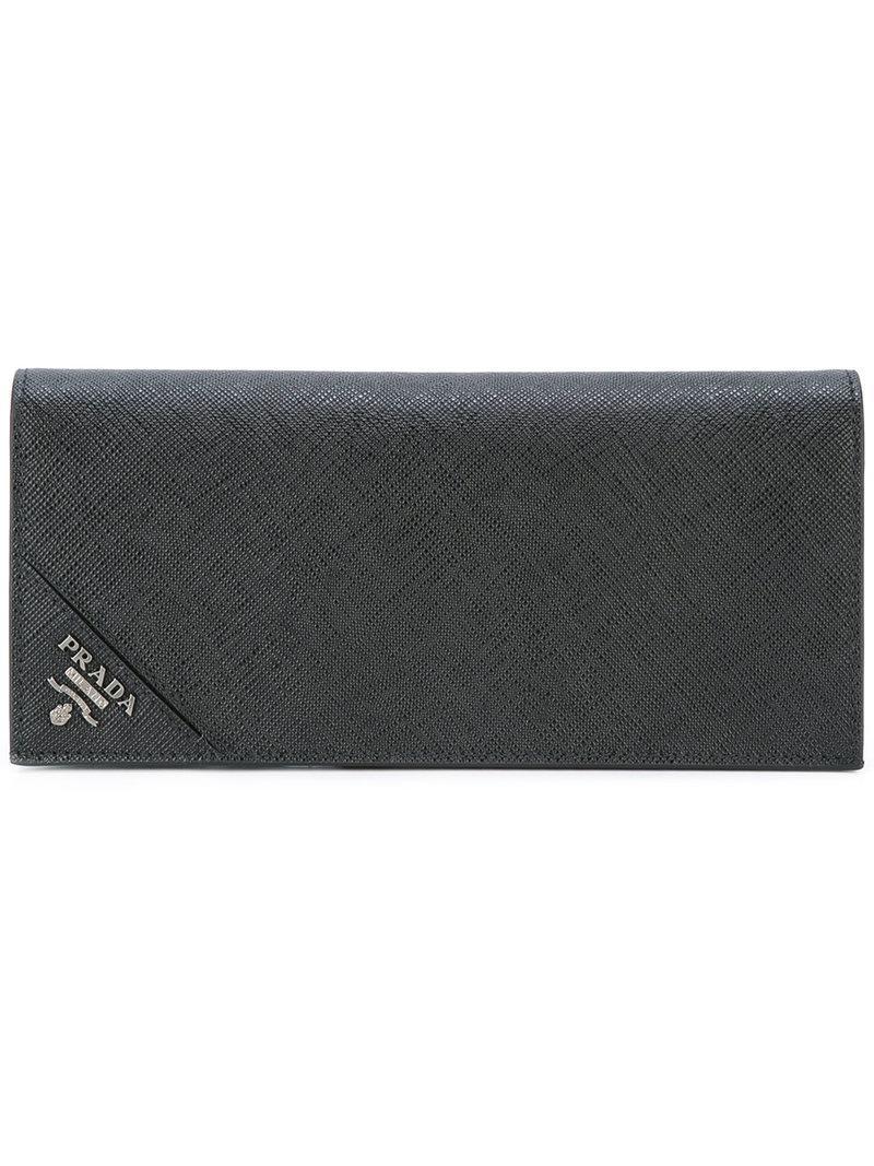 91b89372b302 Prada Logo Plaque Breast Wallet in Black for Men - Lyst