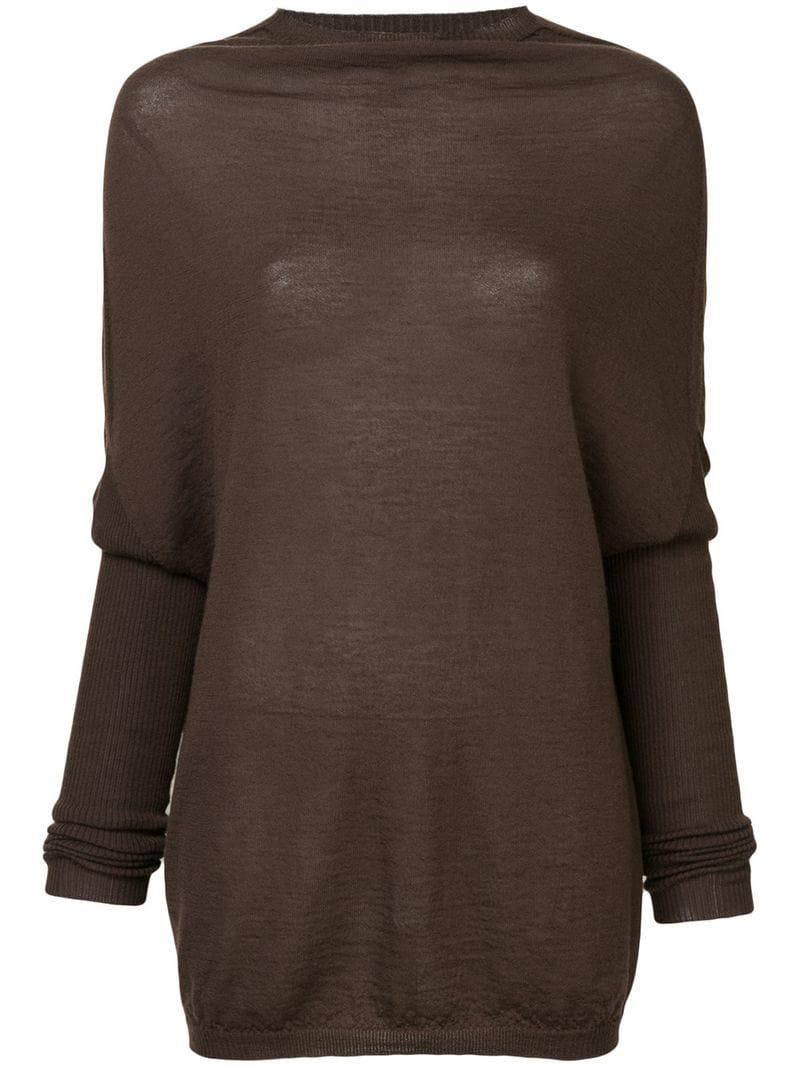Lyst - Rick Owens Loose Fitted Sweater in Brown 4d0de543f