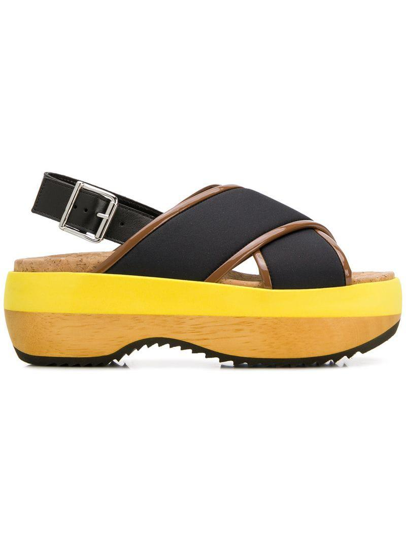11b2a384916 Marni - Black Wedge Sandals - Lyst. View fullscreen