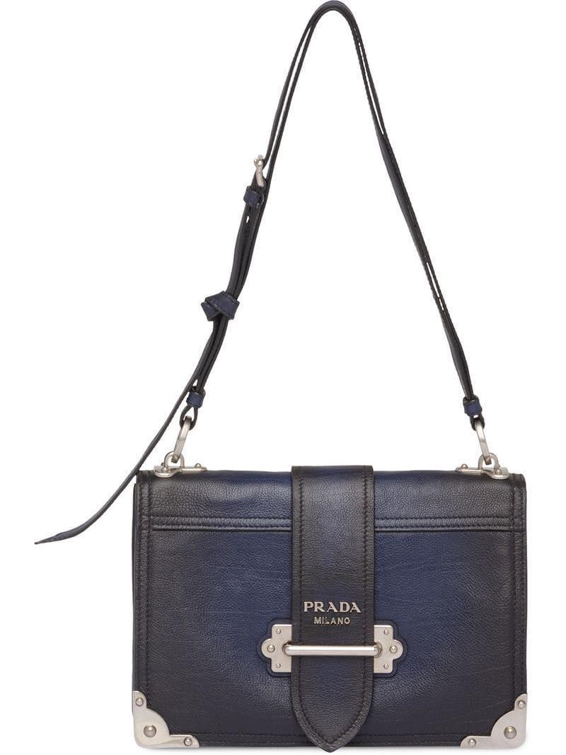 a14e0c5619f Prada Cahier Shoulder Bag in Blue - Lyst