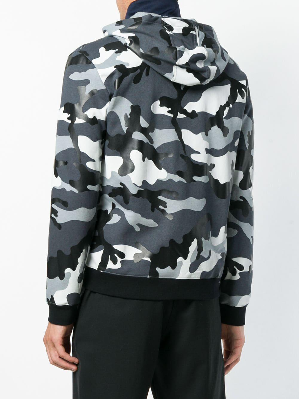 a545d7e55 Valentino Camouflage Print Zipped Hoodie in Gray for Men - Save  7.459338194054965% - Lyst