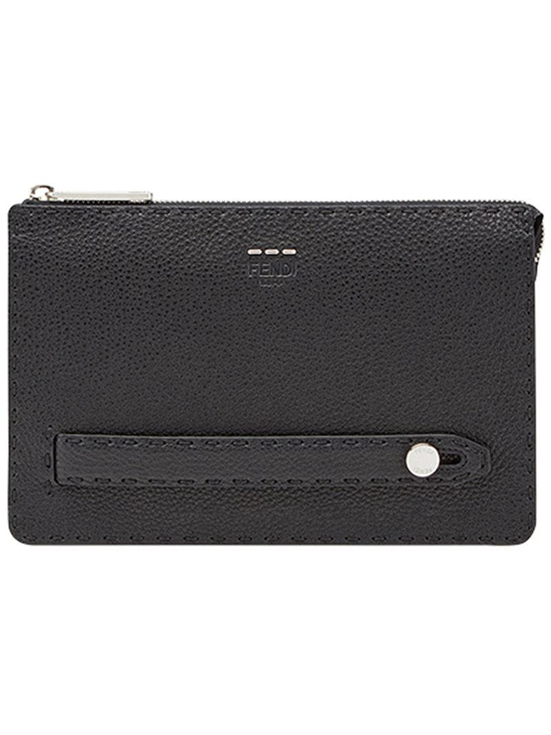 53b90484817 Lyst - Fendi Top Zip Clutch in Black for Men