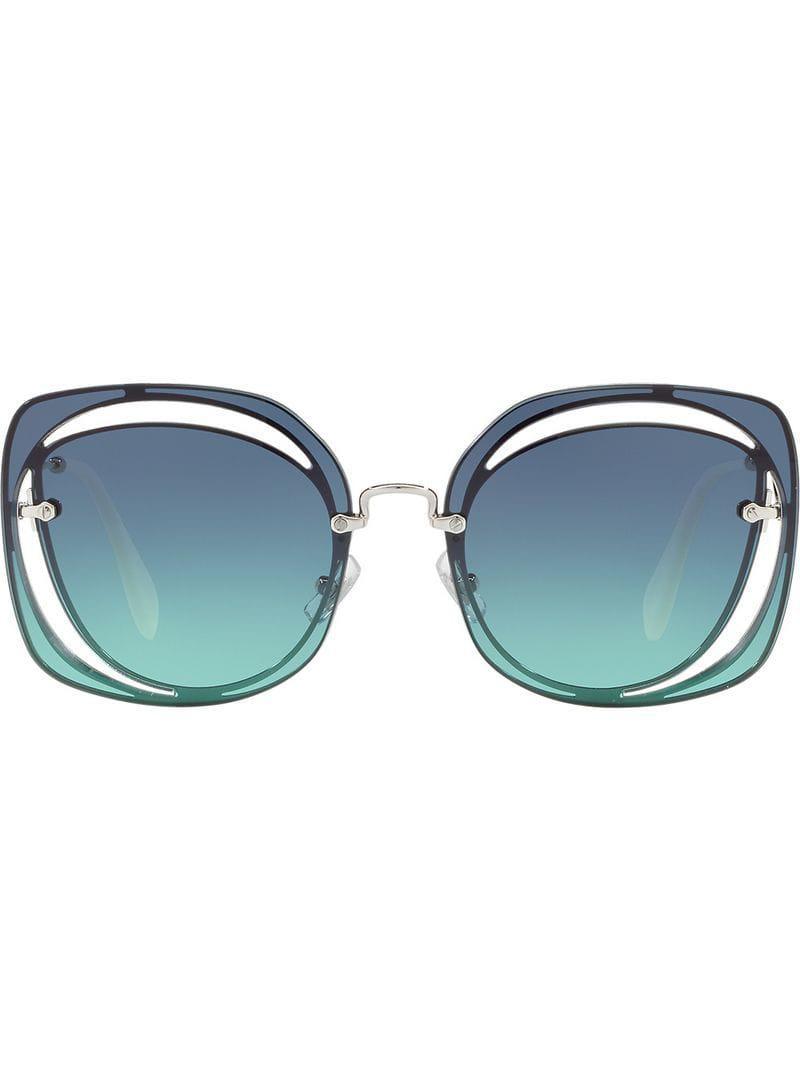 ca516fd61db Miu Miu Cut Out Scenique Sunglasses in Blue - Lyst