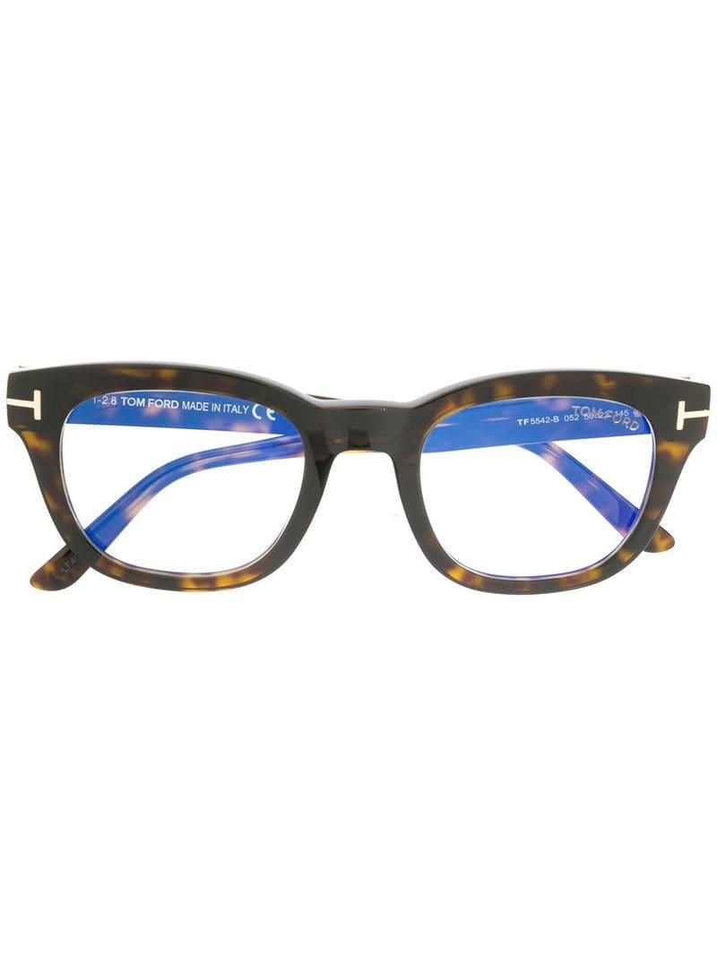 20bcc9c51747 Lyst - Tom Ford Blue-block Soft Square Opticals in Brown