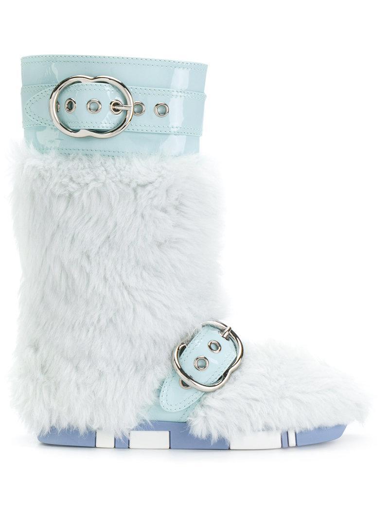 11fea086164 Lyst - Miu Miu Fur Buckled Boots in Blue