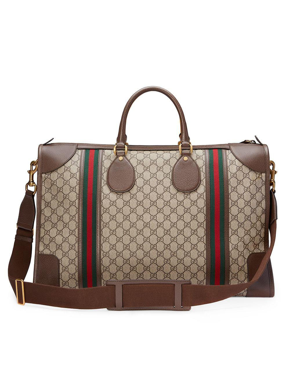 7ef649597852 Lyst - Gucci Soft GG Supreme Duffle Bag With Web in Brown