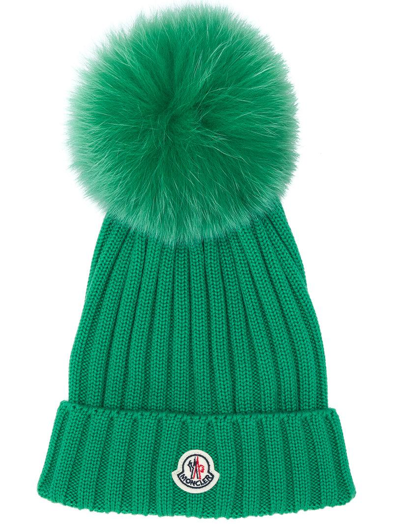 6255402d0ab Lyst - Moncler Branded Beanie in Green